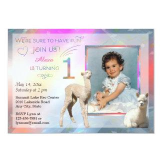 1st födelsedagsfest inbjudan för Alpacaflicka