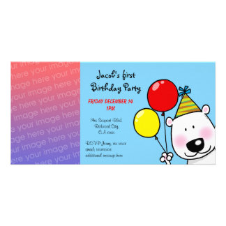 1st födelsedagsfest inbjudan för lycklig fotokort