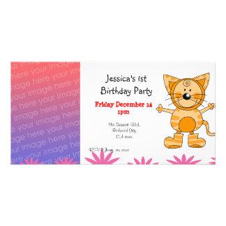 1st födelsedagsfest inbjudan (kattdräkten) anpassingsbara fotokort