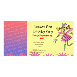 1st födelsedagsfest inbjudan (princessfen) skräddarsydda fotokort