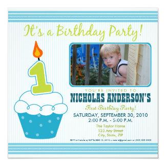 1st födelsedagsfest inbjudanAqua för söt muffin Fyrkantigt 13,3 Cm Inbjudningskort