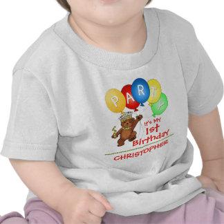 1st födelsedagsfestanpassningsbar för kunglig björ t-shirts