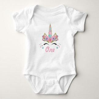 1st födelsedagsfestdräkt för blom- Unicorn T Shirt