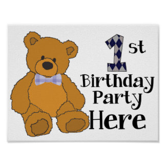 1st Födelsedagsfesten här poster med flugabjörnen Print