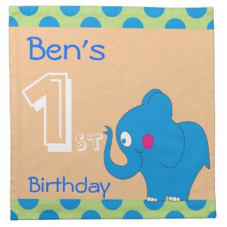 1st födelsedagsfestservetter för gullig elefant tygservett