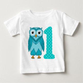 1st Födelsedagskjorta: Ugglablått T Shirts