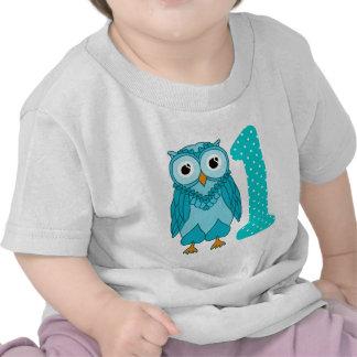 1st Födelsedagskjorta: Ugglablått T-shirt