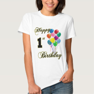1st födelsedagT-tröja för lycklig med ballonger Tshirts