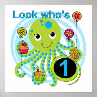 1st födelsedagT-tröja och gåvor för bläckfisk Poster