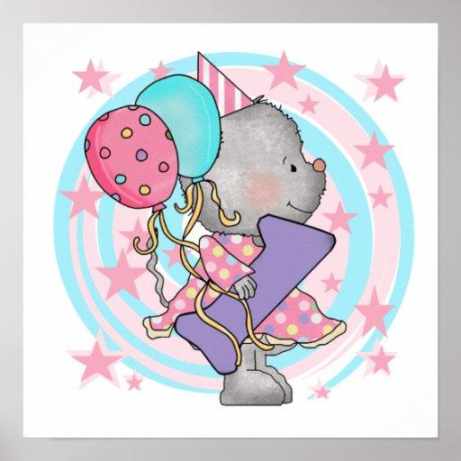 1st födelsedagT-tröja och gåvor för mus Affischer