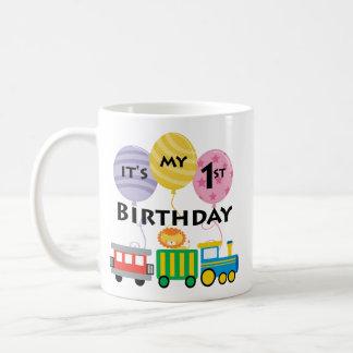1st Födelsedagtågfödelsedag Vit Mugg