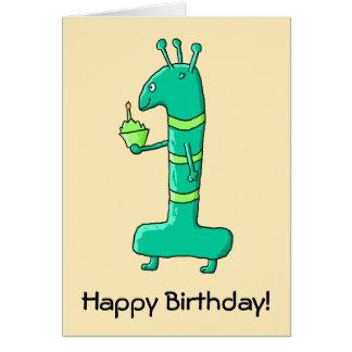 1st Födelsedagtecknad. Green. Hälsningskort