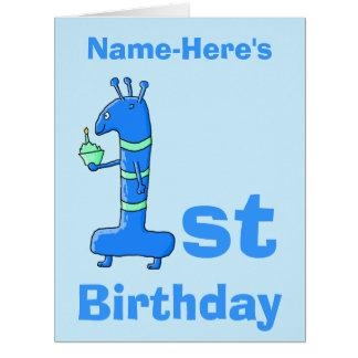 1st födelsedagtecknad, i blått. Beställnings- namn Jumbo Kort