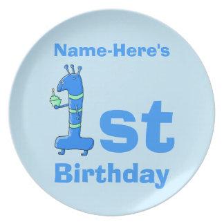 1st födelsedagtecknad, i blått. Beställnings- namn Tallrik