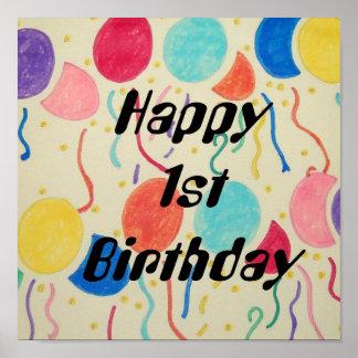 1st födelsedagtryck för lycklig poster