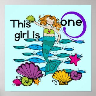 1st födelsedagTshirts och gåvor för sjöjungfru Posters