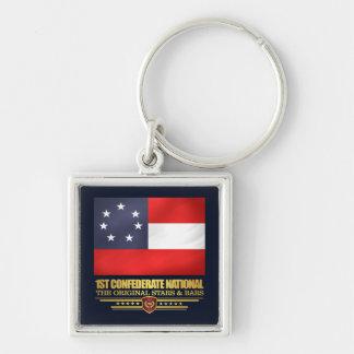 1st Förbundsmedlemmedborgare Fyrkantig Silverfärgad Nyckelring