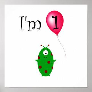 1st Främmande röd ballong för födelsedag Poster