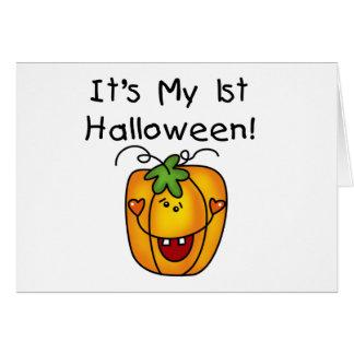 1st Halloween för jack o lantern T-tröja och gåvor Hälsningskort