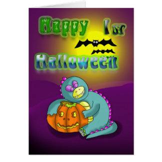 1st halloween för lycklig kort