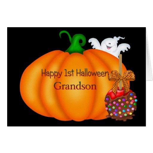 1st Halloween för lycklig sonson Kort