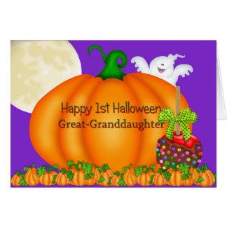 1st Halloween för lycklig stor- sondotter Hälsningskort