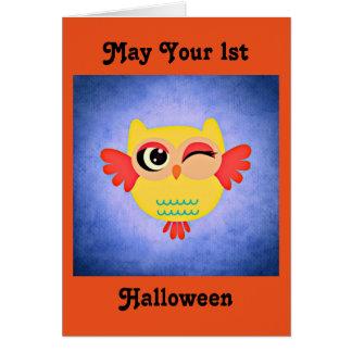 1st Halloween gullig uggla Hälsningskort