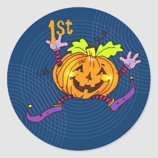 1st Halloween lyckligpumpa Runt Klistermärke