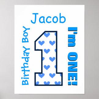 1st Hjärtor för födelsedagpojkeblått en årig B01Z Poster