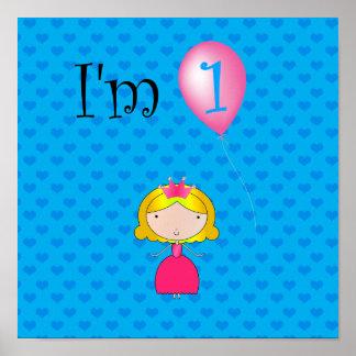1st Hjärtor för födelsedagprincessblått Posters