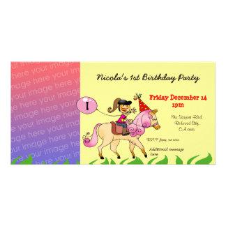 1st inbjudningar för födelsedagflickaparty (den ro anpassingsbara fotokort