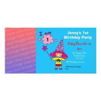 1st inbjudningar för födelsedagflickaparty (trollk fotokort