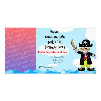1st inbjudningar för party för piratfödelsedagpojk hälsningskort med foto