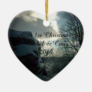 1st Jul som gifta sig hjärtaprydnaden Julgransprydnad Keramik