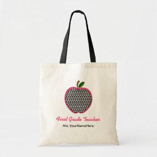 1st Klasslärarepåse Houndstooth & rosor Apple Tygkasse