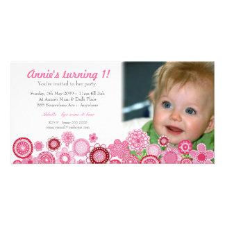1st Kort för foto för inbjudan för födelsedagrosap Fotokort