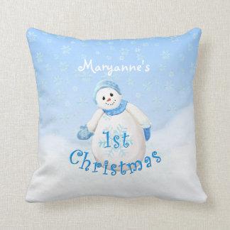 1st Lycklig snögubbeanpassningsbar för jul Kudde