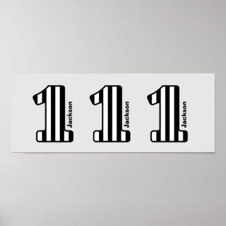 1st Numrerar randiga stora för BABYfödelsedagsvart Poster