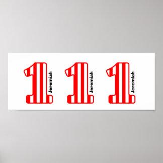 1st Numrerar röda randiga stora för BABYfödelsedag Poster
