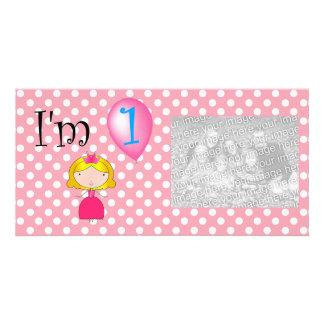 1st Polka dots för födelsedagprincessrosor Fotokort