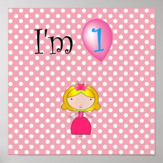 1st Polka dots för födelsedagprincessrosor Poster