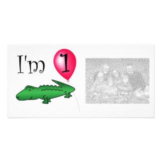 1st Röd ballong för födelsedagalligator Anpassingsbara Fotokort
