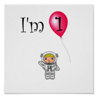 1st Röd ballong för födelsedagastronaut Affischer