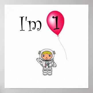 1st Röd ballong för födelsedagastronaut Poster
