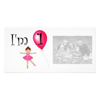 1st Röd ballong för födelsedagballerina Hälsningskort Med Foto