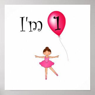 1st Röd ballong för födelsedagballerina Poster