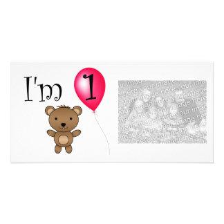 1st Röd ballong för födelsedagbjörn Skräddarsydda Fotokort