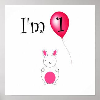 1st Röd ballong för födelsedagkanin Print