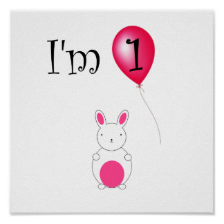 1st Röd ballong för födelsedagkanin Poster