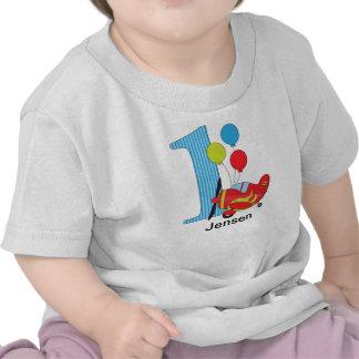 1st Rött blått födelsedagflygplan Tee Shirt
